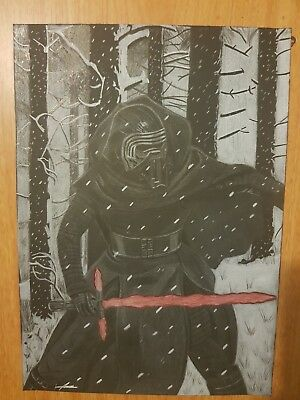 drawing of kylo ren from star wars on black paper