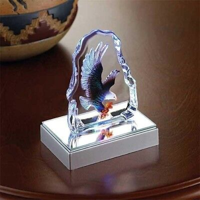EAGLE CRYSTAL SCULPTURE Small Glass Lighted LED Desk Shelf Figurine