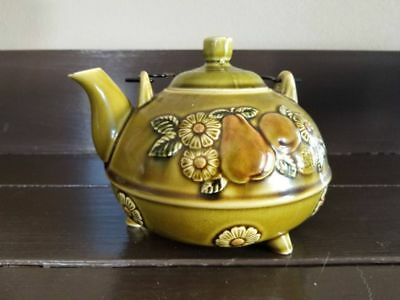 Vintage APCO tea pot from Japan.  Green and brown teapot with metal handle.