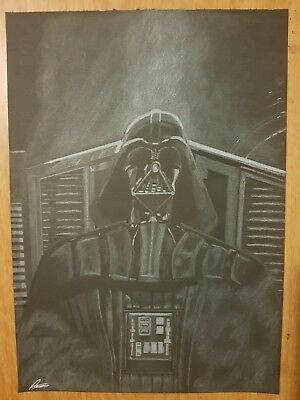 drawing of darth vader on black paper with a white pencil