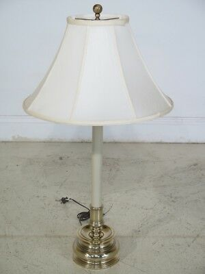F29547C: STIFFEL Brass and Creme Enamel Table Lamp with Shade