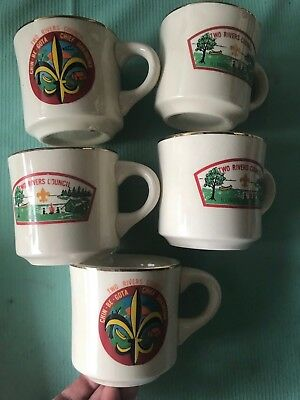 Vintage lot of Boy Scouts BSA Coffee Mug Scout Camps Camp rare two river council