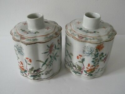 Pair Antique Chinese Export Porcelain Famille Rose Tea Caddy's - Rare Form