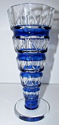 Antique Val St Lambert Deco Blue Cut To Clear Crystal Vase #215
