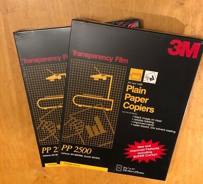 3M Transparency Film For Copiers PP2500 100 Sheets New, Still Sealed