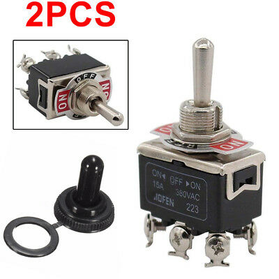 2 x Blk Waterproof Boot Cap DPDT Momentary Toggle Switch ON/OFF/ON Amp US Stock