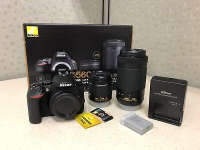 Nikon - D5600 DSLR Camera with 18-55mm and 70-300mm Lenses - MINT