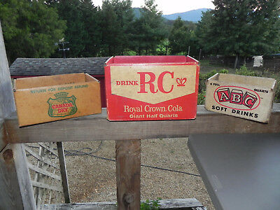 3 Bottle Crates Royal Crown RC Cola, ABC, Canada Dry Cardboard Bottle