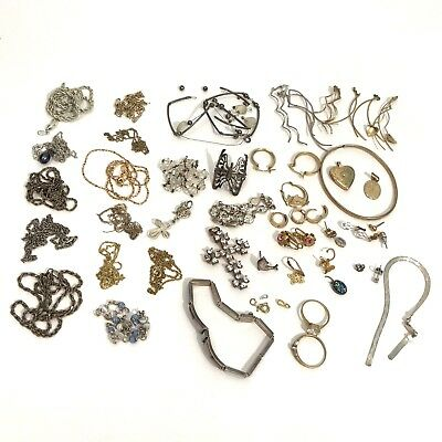 Bag Lot Gold Silver Plated Jewelry Mixed Chains Rings 14k 10k 925 Scrap Fix Wear