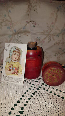 Victorian 1800's Whittemore's Gilt Edge Shoe Oil Wooden Container and Trade Card