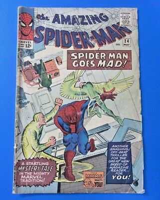 The Amazing Spider-Man #24 ~ Marvel Silver Age Comic Book 1965 ~ Vg