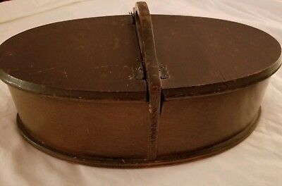 Antique Wooden Oval Sewing Box