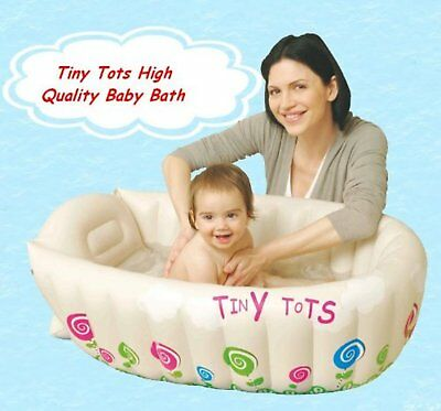Tiny Tots Baby Infant Travel Inflatable Bath Tub Cream Color 90cm x 60cm x 30cm