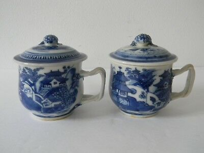 2 ANTIQUE CHINESE EXPORT PORCELAN CANTON COVERED CUPS / MUGS w TWISTED HANDLES
