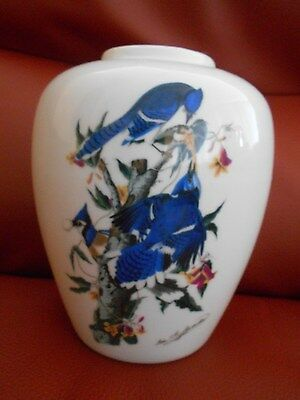 AUDUBON SOCIETY Print 'Blue Jay' ,Royal Orleans Japan Porcelain VASE, Signed EUC