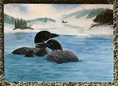 Original Oil Signed S Foss Ducks Birds Loons Drake Hen Ducklings Unframed Vint.
