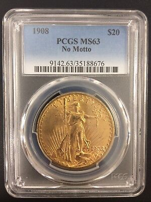 1908 $20 No Motto Gold St. Gaudens Gold coin, $20 Liberty gold coin PCGS MS63