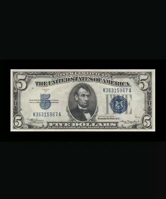 1934 A UNITED STATES Silver Certificate 5 $ Almost Uncirculated