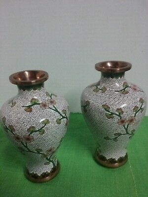 "Vintage Antique Pair of Chinese Asian Cloisonne Enamel 5&1/2"" Vases Floral"