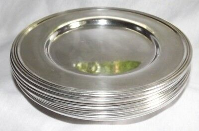 """9 Sterling Silver Bread & Butter Side Plates 758 grams 6"""" No Mono Saybrook, Acme"""