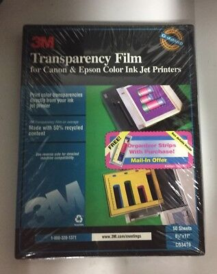 """3M Transparency Film For Laser Printers  8.5""""x11"""" 50 Sheets CG3410 NOS SEALED"""
