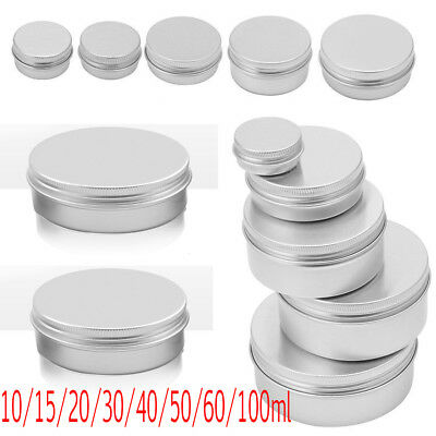 10-30PCS Durable Silver Aluminum Cosmetic Pot Lip Balm Jar Containers Empty Tins