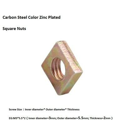 50Pcs M3 M4 M5 M6 M8 Metric Square Nuts Carbon Steel Or A2 Stainless Steel