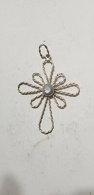 vintage sterling  silver wire cross pendant with abalone