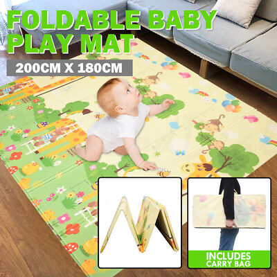 Foldable Baby Play Mat Picnic Rug Durable Material 2x1.8m 1cm Thick Carry Bag 1Y