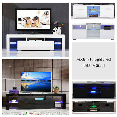 High Gloss LED Light Shelves TV Stand Unit Console Cabinet Living Room Furniture