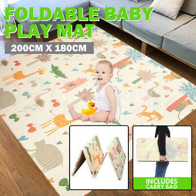 Foldable Baby Play Mat Picnic Rug Durable Material 2x1.8m 1cm Thick Carry Bag 2B
