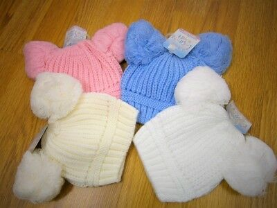 BABIES KNITTED HAT WITH DOUBLE POM POM Newborn - 12 Months
