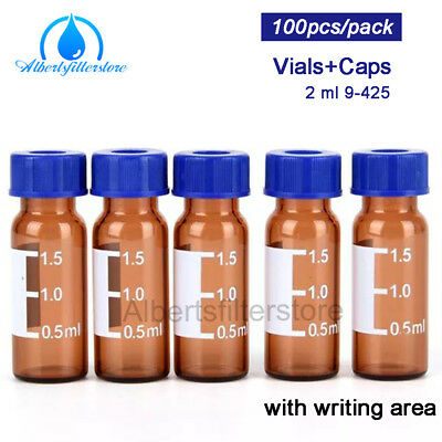 100pc 2ml Amber Graduated Round Glass Reagent Bottle Blue Screw Cap Sample Vials