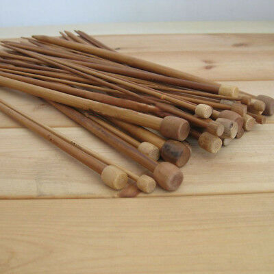 Bamboo 18 Pairs Single Pointed Knitting Needles Smooth Crochet Craft Crochet
