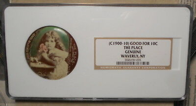 Waverly NY The Place 243 Broad St GF 10c IT Celluloid Mirror NGC Authentic