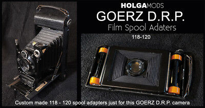 Custom 118 to 120 film spool adapters only for a GOERZ ROLL TENAX 8 X 14 cm