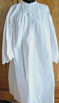 antique French hand sewn night dress, white work embroidery, JM monogram