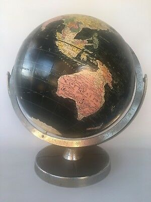 Vintage 1960 Replogle 12 Inch Starlight World Globe Chrome Stand