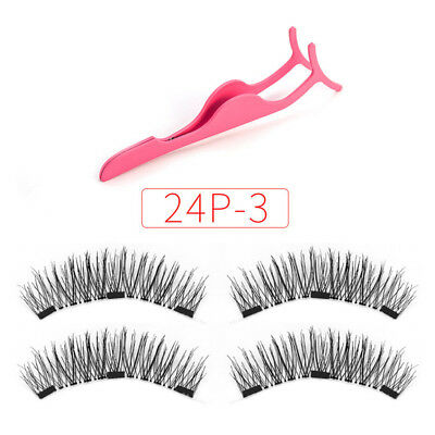 3D Natural Soft Triple Magnétique Faux Cils 3 Magnets Eye Lashes Extension Hot