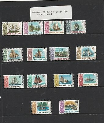 1967-68 Ships Associated with Norfolk Isl. Full set of 14 Used Stamps. See Photo