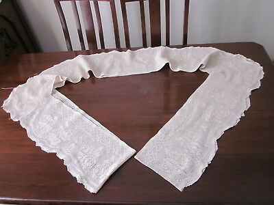 Gorgeous Wide Filet Crochet Lace Tablecloth Edging Roses Design