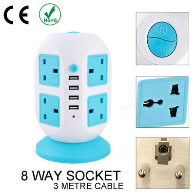 3m 8way 8gang Surge Protected Tower Socket Extension Lead Cable With 4 USB 2A NS