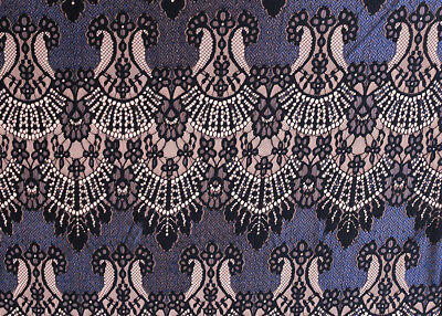 Stunning 2 Tone Regencyesque Lace Dress Fabric Material (Black/Deep Blue)