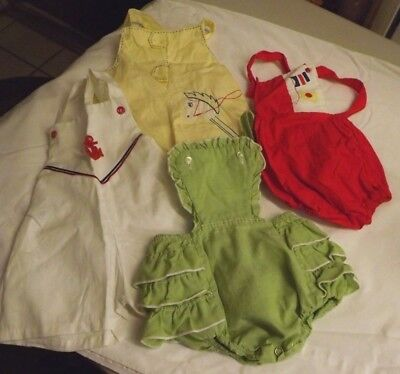 Vintage Lot Of 4 Over All Rompers Green Red White Yellow Buttoned 6 To 12 Months