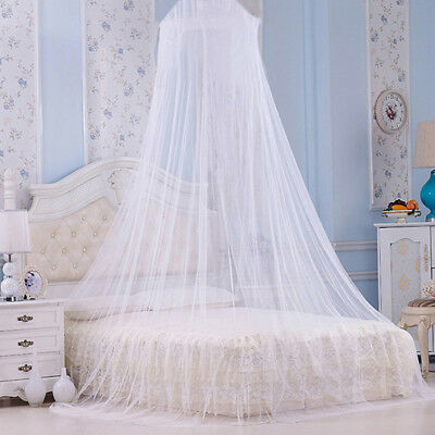 Elegant White Lace Mosquito Net Canopy Circular Princess Dome House Bedding Net