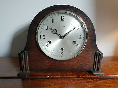 Antique 1930's Solid Oak Smiths Full Westminster Chime Mantle Clock (Vintage)