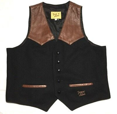 Tony Lama Vintage Wool & Leather Vest Size L Western NWOT