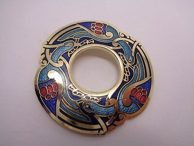 Vintage  Celtic Brooch Sea Gems Enamelled Wedding Party Prom Festival