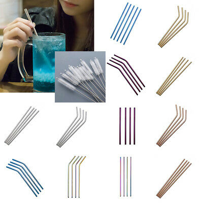 Stainless Steel Metal Drinking Straw Multicolores Reusable Straws Cleaner Brushs