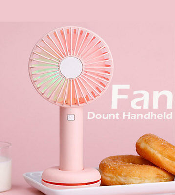 Handheld Mini USB Fan Portable Personal Rechargeable w/LED Colorful Night Light
